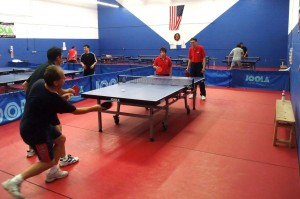 Florin and Larry vs Shu and Sally in doubles action