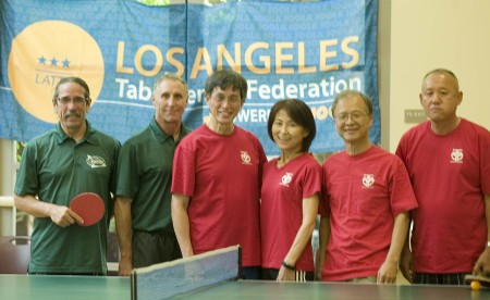 Left side South Bay Eagles Steve Sakurada, Paul Limburg and Golden Ninjas Warren Hoo, Midori Pesyna, Fred Liao and Steven Noh