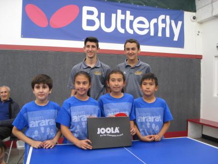 (front row) Hayk Mherian, Emily Shahverdian, Anika Grigor, Andrew Grigor, (back row) Micah Bernhard & Adam Schoenfeld
